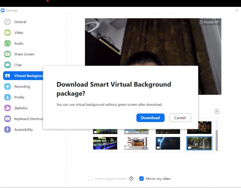 Smart virtual background zoom
